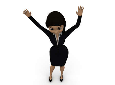 woman hands up: 3d woman hands up concept in white isolated background 3d - rendering ,  top angle view