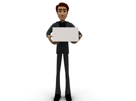 almanac: 3d man holding a calender in hands concept in white isolated background 3d - rendering , front angle view Stock Photo