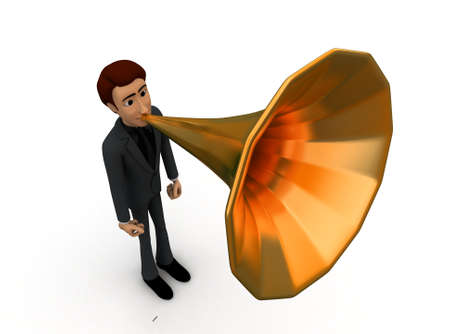 gramaphone: 3d man with gramaphone speaker fitted on mouth concept in white isolated background 3d - rendering , top angle view