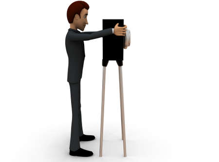 tacheometer: 3d man civil survey concept in white isolated background - 3d rendering , side angle view
