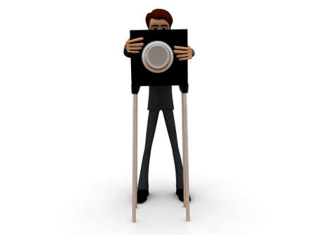 surveying: 3d man civil survey concept in white isolated background - 3d rendering , front angle view Stock Photo