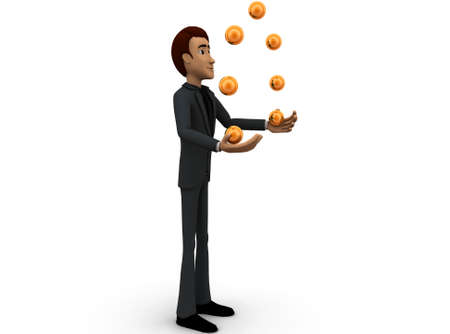 juggling: 3d man juggling concept in white isolated background - 3d rendering , side angle view Stock Photo