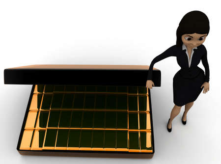 biscuts: 3d woman presenting  briefcase with gold biscuts  concept in white isolated background - 3d rendering , top angle view