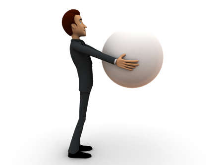 man carrying: 3d man carrying ball concept in white isolated background - 3d rendering ,  side angle view