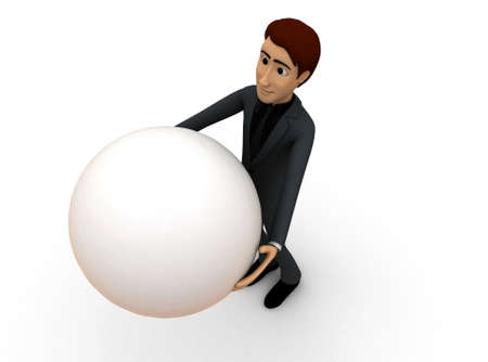 man carrying: 3d man carrying ball concept in white isolated background - 3d rendering , top angle view