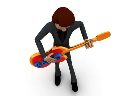 man playing guitar: 3d man playing guitar concept in white isolated background - 3d rendering ,  top angle view Stock Photo