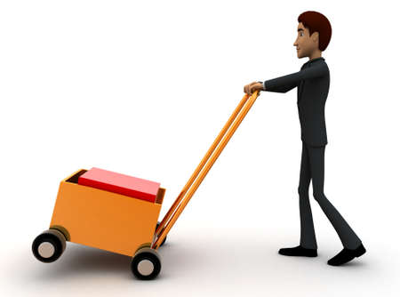 handtruck: 3d man pushing handtruck concept in white background - 3d rendering , side angle view Stock Photo