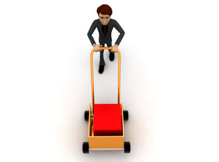 mover: 3d man pushing handtruck concept in white background - 3d rendering ,  top  angle view