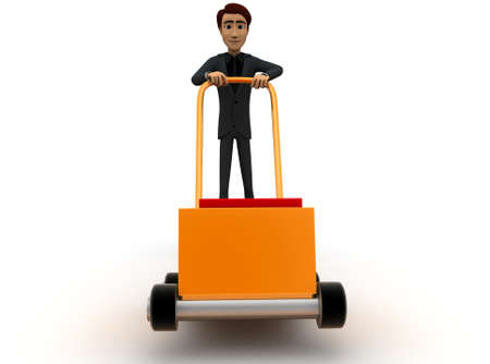man pushing: 3d man pushing handtruck concept in white background - 3d rendering , front angle view