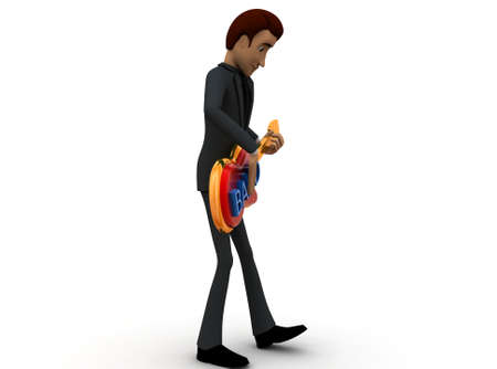 man playing guitar: 3d man playing guitar concept in white isolated background - 3d rendering , side  angle view