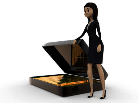 biscuts: 3d woman presenting  briefcase with gold biscuts  concept in white isolated background - 3d rendering , side angle view Stock Photo