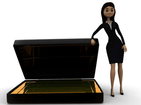 biscuts: 3d woman presenting  briefcase with gold biscuts  concept in white isolated background - 3d rendering , front angle view