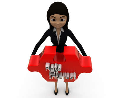 interest rate: 3d woman rate of interest text on puzzle concept on white background - 3d rendering ,  top angle view Stock Photo