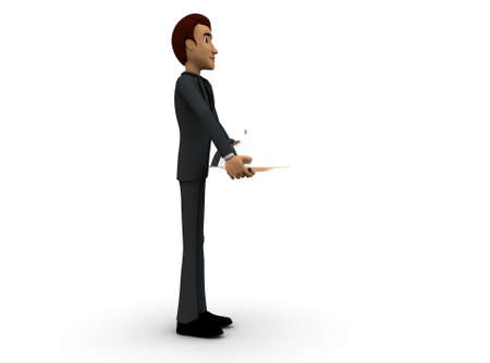 side dish: 3d man waiter with dish concept on white background - 3d rendering , side angle view Stock Photo