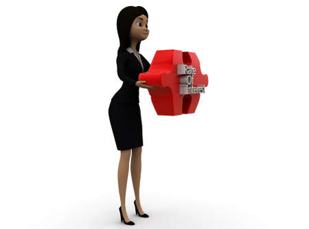 interest rate: 3d woman rate of interest text on puzzle concept on white background - 3d rendering ,  side angle view