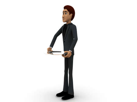 serving people: 3d man waiter with opened dish tray concept on white background - 3d rendering , side angle view Stock Photo