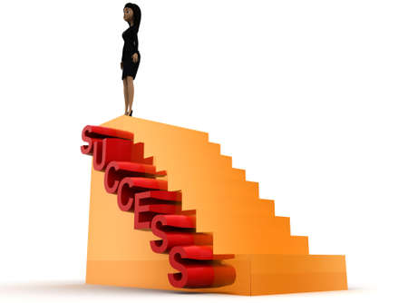 woman stairs: 3d woman success stairs concept on white background - 3d rendering ,  side angle view Stock Photo