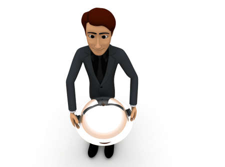 serving people: 3d man waiter with dish concept on white background - 3d rendering , top angle view