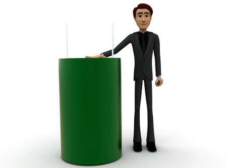 capacitor: 3d man presenting capacitor concept on white background - 3d rendering , front angle view Stock Photo