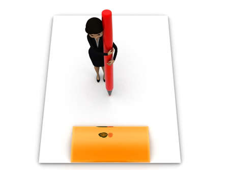 large woman: 3d woman holding pen on a large clipboard concept on white background - 3d rendering , top angle view