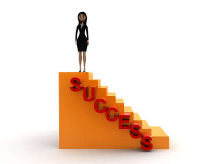 woman stairs: 3d woman success stairs concept on white background - 3d rendering ,  front angle view Stock Photo