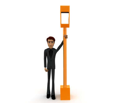 street light: 3d man standing near road  street light concept on white background - 3d rendering , front angle view