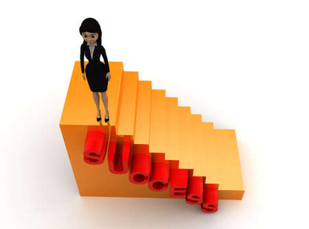 woman stairs: 3d woman success stairs concept on white background - 3d rendering ,  top angle view