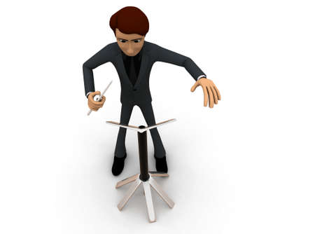 conductors: 3d man music composer concept on white background - 3d rendering , top angle view Stock Photo