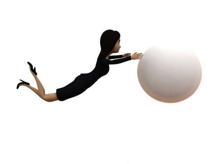 big ball: 3d woman trying to catch big ball concept on white background - 3d rendering ,  side angle view