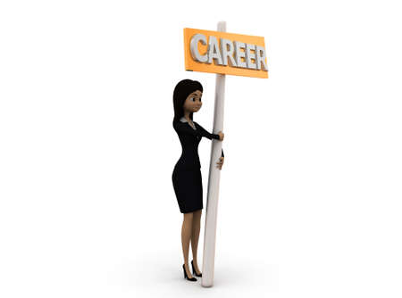 carrer: 3d woman holding career board concept  with white background, side angle view
