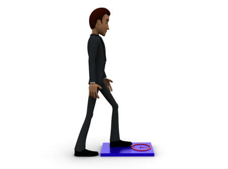 weighing scale: 3d man checking weight on weighing scale concept with white background, side angle view