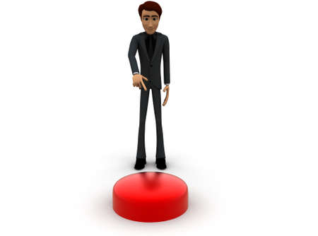 button front: 3d man pointing  button concept with white background, front angle view