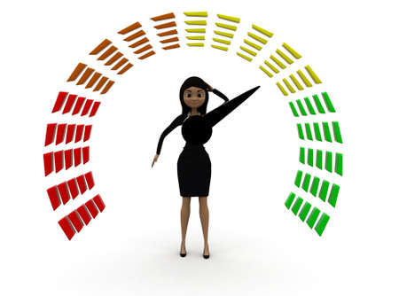 front angle: 3d woman looking at meter concept with white background,  front angle view