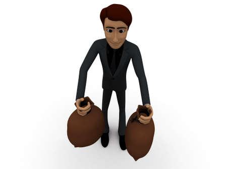 sacks: 3d man holding sacks in hands concept with white background, top angle view Stock Photo