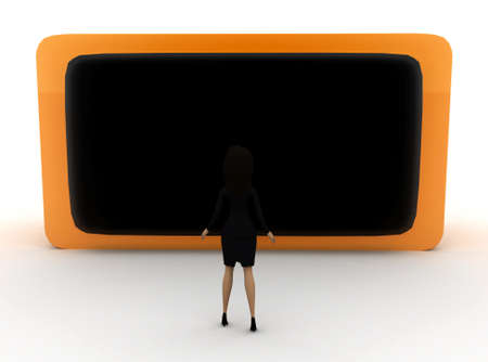 front angle: 3d woman looking at television screen  concept with white background, front angle view Stock Photo
