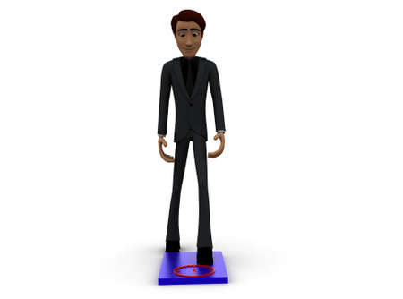 weighing scale: 3d man checking weight on weighing scale concept with white background, front angle view