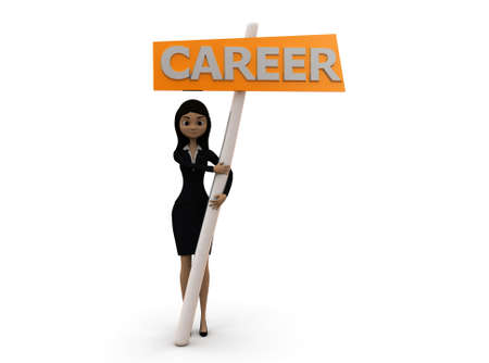 carrer: 3d woman holding career board concept  with white background,  front  angle view