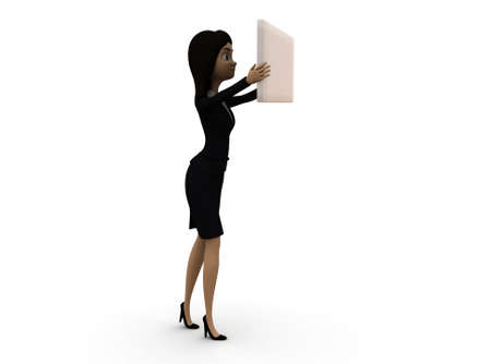 plain: 3d woman holding white plain board concept in white isolated background , side angle view Stock Photo