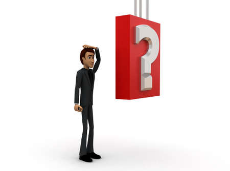 questionmark: 3d man worried about questions concept with white background, side angle view Stock Photo