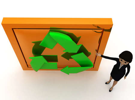 top angle view: 3d woman recycle concept with white background, top angle view