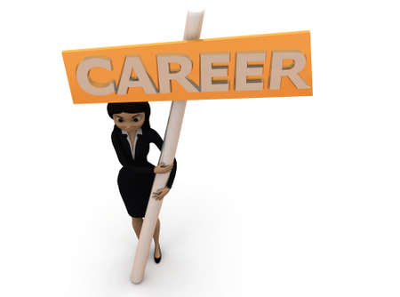 carrer: 3d woman holding career board concept  with white background, top angle view