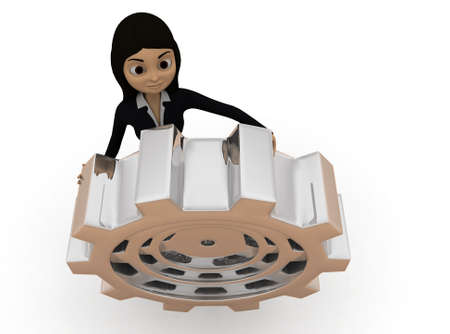 top angle view: 3d woman gear concept with white background, top angle view