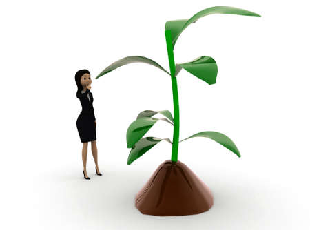 plant stand: 3d woman  looking at  plant concept  in white isolated background , side angle view
