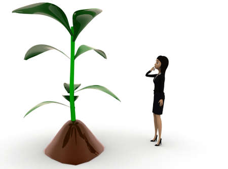 plant stand: 3d woman  looking at  plant concept  in white isolated background , front angle view Stock Photo