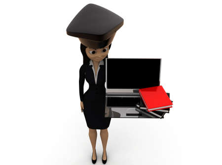scholar: 3d woman scholar student concept on white background - 3d rendering ,, top angle view