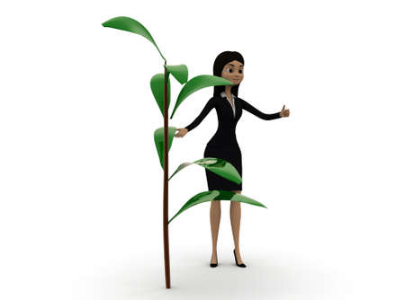 near side: 3d woman standing near by a small plant concept in white isolated background , side angle view