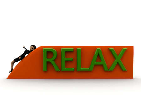 relaxing: 3d woman relaxing concept on white background - 3d rendering ,,  front angle view