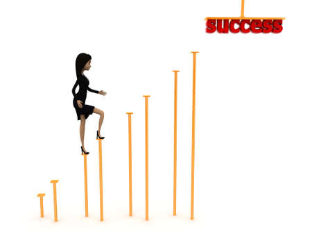 front angle: 3d woman walking in to success concept on white background - 3d rendering ,  front angle view