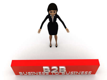 b2b: 3d woman B2B concept on white background - 3d rendering ,, top angle view