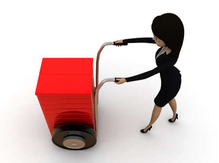 pushing: 3d woman pushing handtruck concept on white background - 3d rendering ,,   top angle view Stock Photo